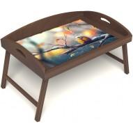 Столик для завтрака в постель «Русская берёза», «Птичка моя» с 3-мя высокими бортиками цвет орех