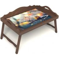 Столик для завтрака в постель «Птичка моя» с 3-мя фигурными бортиками цвет орех
