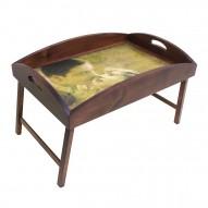 Столик для завтрака в постель с высоким бортиком «Незабываемый поцелуй»