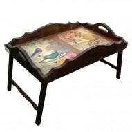 Столик для завтрака в постель «Русская берёза», с фигурным бортиком «Доброе утро!»