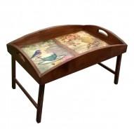 Столик для завтрака в постель «Русская берёза», с высоким бортиком «Доброе утро!»