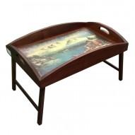 Столик для завтрака в постель «Русская берёза», с высоким бортиком «Домик у моря»