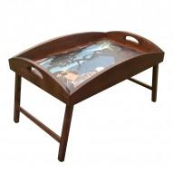 Столик для завтрака в постель «Русская берёза», с высоким бортиком «Гейша»