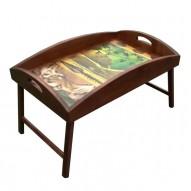 Столик для завтрака в постель «Русская берёза», с высоким бортиком «Глаз тигра»