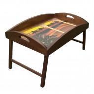 Столик для завтрака в постель «Русская берёза», с высоким бортиком «Караван в закате»