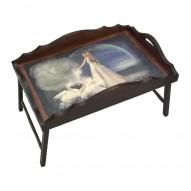 Столик для завтрака в постель «Русская берёза», с фигурным бортиком «Лебединая верность»
