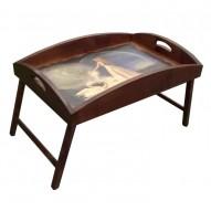 Столик для завтрака в постель с высоким бортиком «Лебединая верность»