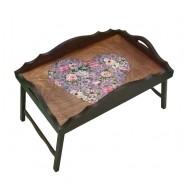 Столик для завтрака в постель «Русская берёза», с фигурным бортиком «Любящее сердце»