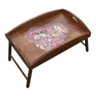Столик для завтрака в постель с высоким бортиком «Любящее сердце»