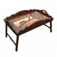 Столик для завтрака в постель «Русская берёза», с фигурным бортиком «Пантера в закате»