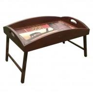 Столик для завтрака в постель «Русская берёза», с высоким бортиком «Пантера в закате»