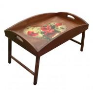 Столик для завтрака в постель с высоким бортиком «Сердце из маков»