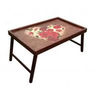 Столик для завтрака в постель «Сердце из роз»