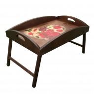 Столик для завтрака в постель с высоким бортиком «Сердце из роз»