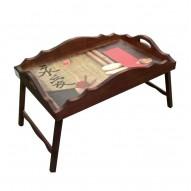 Столик для завтрака в постель с фигурным бортиком «Вечная любовь»