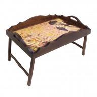Столик для завтрака в постель «Русская берёза», с фигурным бортиком «Письма о любви»