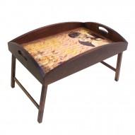 Столик для завтрака в постель «Русская берёза», с высоким бортиком «Письма о любви»