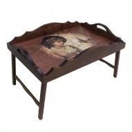 Столик для завтрака в постель «Русская берёза», с фигурным бортиком «Долгожданное письмо»