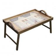 Столик для завтрака в постель «Русская берёза», с ручками «Снежный домик»