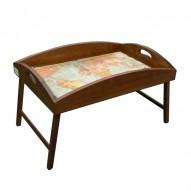 Столик для завтрака в постель «Русская берёза», с высоким бортиком «Кругосветное путешествие»