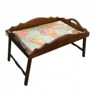 Столик для завтрака в постель «Русская берёза», с фигурным бортиком «Кругосветное путешествие»
