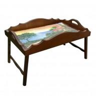 Столик для завтрака в постель «Русская берёза», с фигурным бортиком «Домик у моря»
