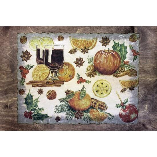 Столик для завтрака в постель «Русская берёза», с высоким бортиком «Зимние фрукты»